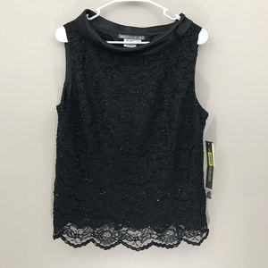 Maggy London Beaded Lace Top